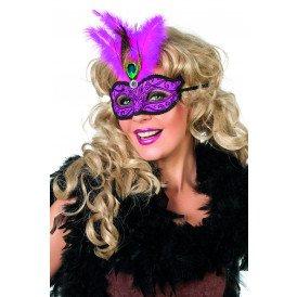 Venetiaans masker met pauwenveer, neon-pink