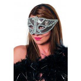Venetiaans masker zilver pailletten