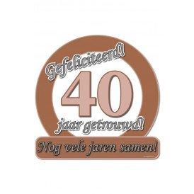 Huldeschild 50x50 cm metalic40 jaar getrouwd
