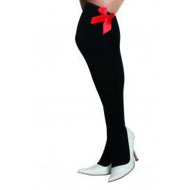 Overknee met strik, zwart/rood
