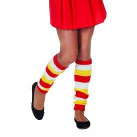 Beenwarmers uni, rood/wit/geel