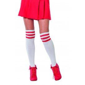 Cheerleader sokken, wit/rood