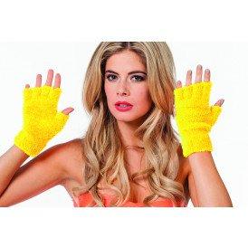 Vingerloze handschoenen pluche, neon-geel