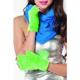 Vingerloze handschoenen pluche, neon-groen