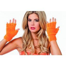 Vingerloze handschoenen pluche, neon oranje