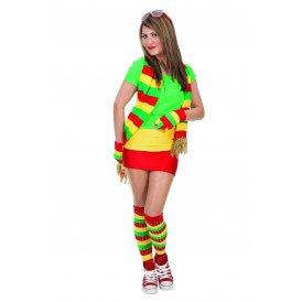 Gebreide sjaal, rood/geel/groen