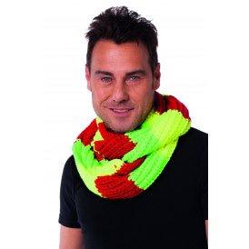 Sjaal rond, rood/geel/groen