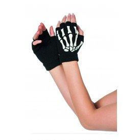 Vingerloze handschoenen skelet, zwart