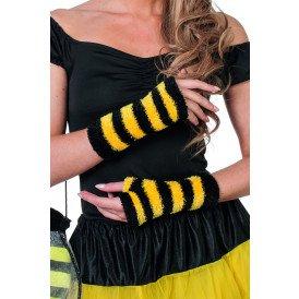 Vingerloze handschoenen 2-kleurig, zwart/geel