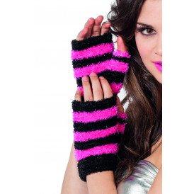 Vingerloze handschoenen 2-kleurig, zwart/pink