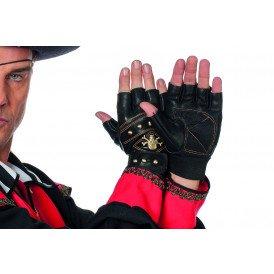 Vingerloze handschoenen im.leer met doodskop, zwart