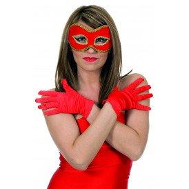 Gala handschoen satijn 20cm, rood