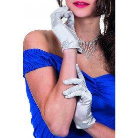 Gala handschoen satijn 20cm, zilver