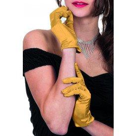 Gala handschoen satijn 20cm, goud