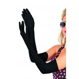 Handschoenen lang polyester satijn, zwart