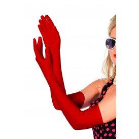 Handschoenen lang polyester satijn, rood