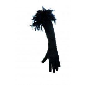 Handschoenen met boa, zwart