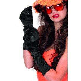 Gala handschoenen satijn 40cm, zwart
