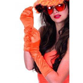 Gala handschoenen satijn 40cm, oranje