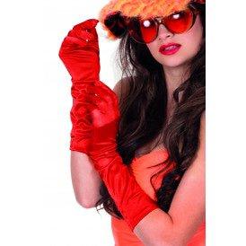Gala handschoenen satijn 40cm, rood