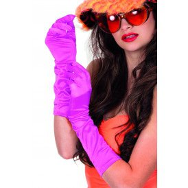 Gala handschoenen satijn 40cm, neon-pink