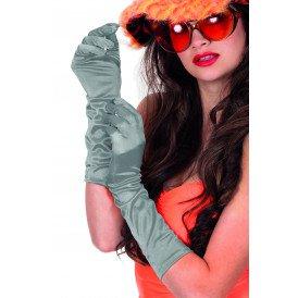 Gala handschoenen satijn 40cm, zilver