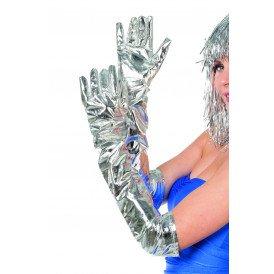 Handschoenen lang folie, zilver