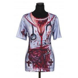 Shirt met print bloody nurse