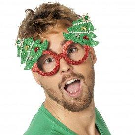 Bril kerst glitter, rood met kerstboom