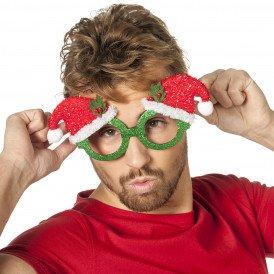 Bril kerst glitter, groen met kerstmuts glitter