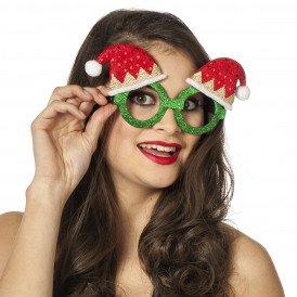 Bril kerst glitter, groen met kerstmuts pailletten