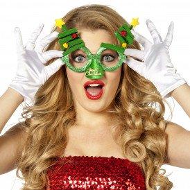 Bril kerst met neus, groen met kerstbomen