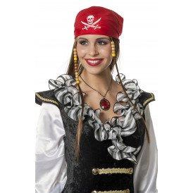 Piratenpruik met kapje, bruin