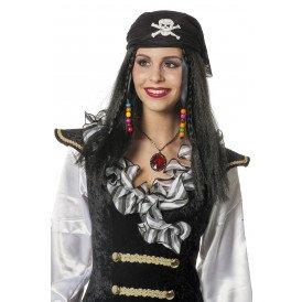 Piratenpruik met kapje, zwart
