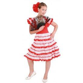 Spaanse jurk andalusie rood/wit kinderen