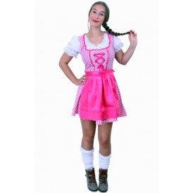 Tiroler jurk kort Lena pink/wit