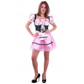 Tiroler jurk groen/roze met bloemen dames