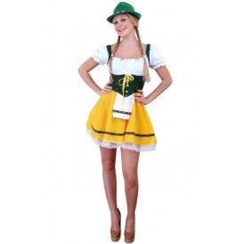 Tiroler jurk kort geel/groen dames