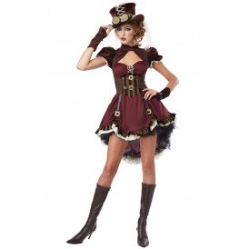 Steampunk dame boroodeaux rood/bruin