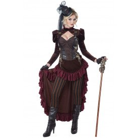 Victoriaanse steampunk dame boroodeaux