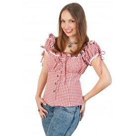 Bayern-blouse rood/wit dames