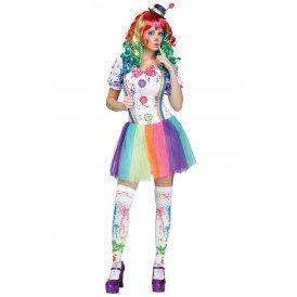 Clown kostuum multicolour dames