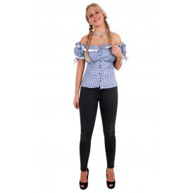 Tiroler blouse blauw/wit dames