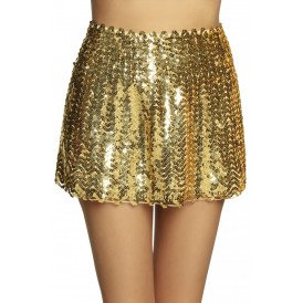 Minirokje Sequins goud stretch