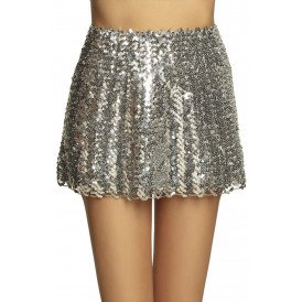 Minirokje Sequins zilver stretch