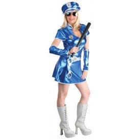 Hottie politie kostuum metallic blauw dames