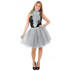 Tule rok zilver dames one size