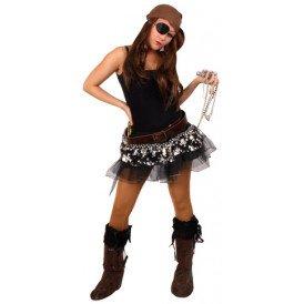 Tule rokje pirate zwart/zilver dames one size