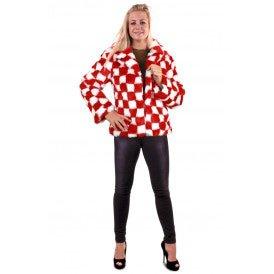 Bontjas rood/wit geblokt dames