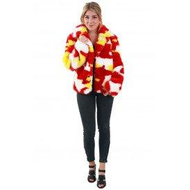 Bontjas camouflage rood/wit/geel dames